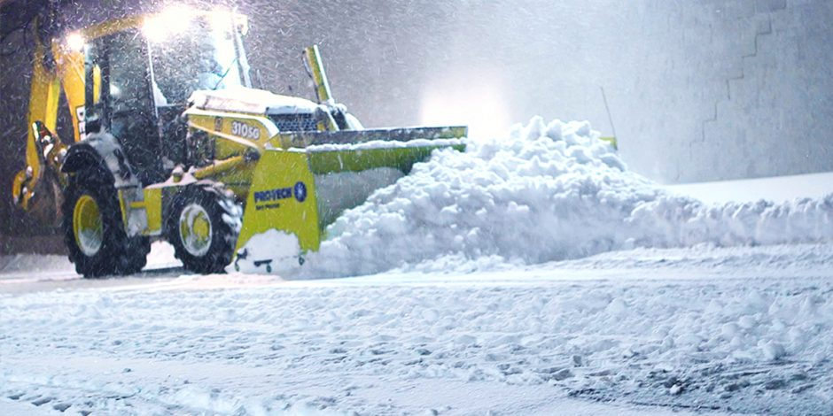 backhoe snow pusher
